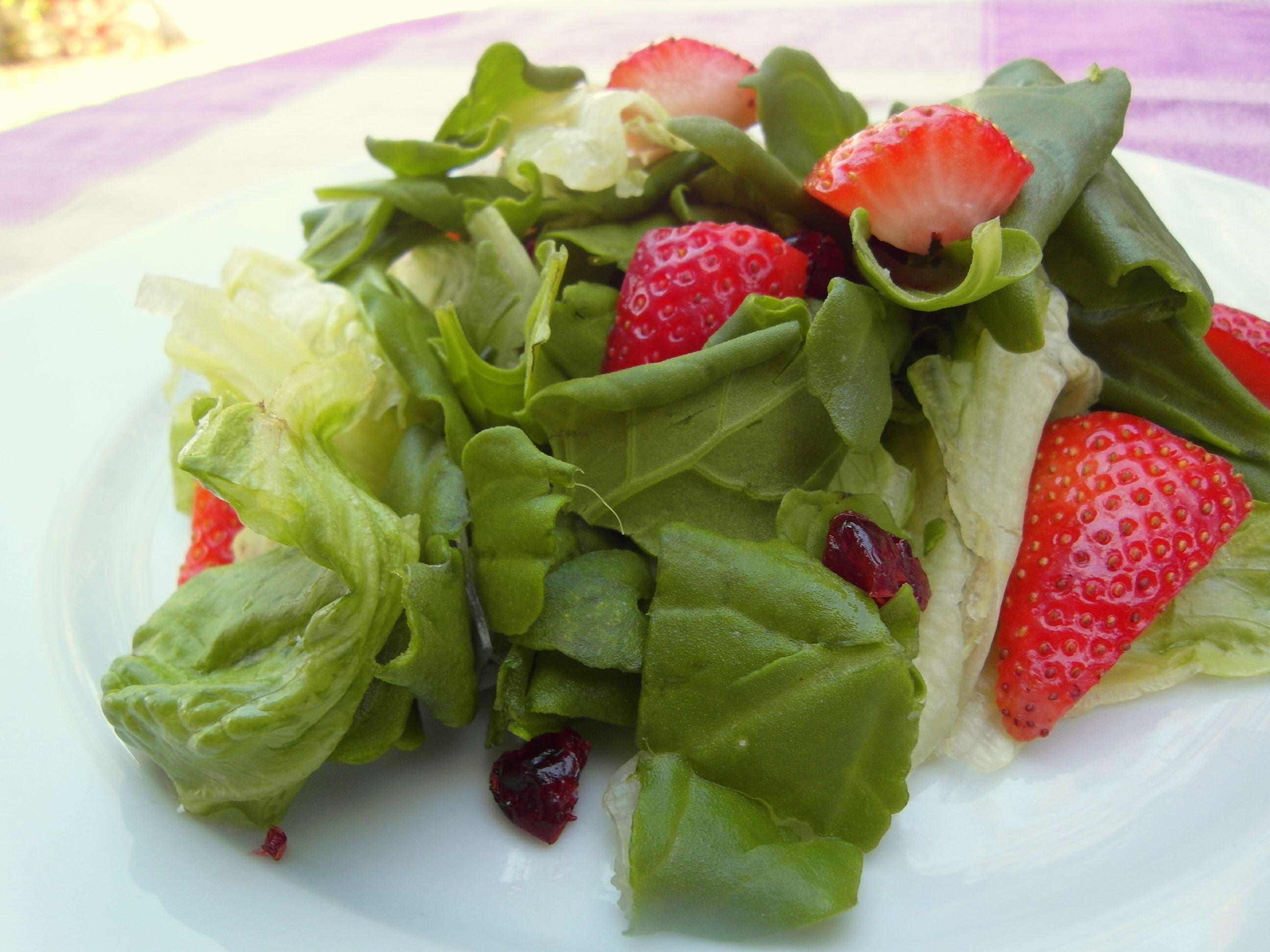 סלט תרד-תותים-חמוציות יום עצמאות טבעוני - מתכונים טבעוניים של השוחטת הטבעונית יעלי שוחט